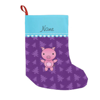 Personalized name pig purple christmas trees