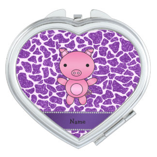 Personalized name pig purple glitter giraffe print compact mirrors
