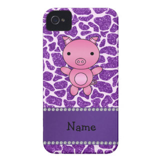 Personalized name pig purple glitter giraffe print iPhone 4 Case-Mate cases