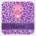 Personalized name pig purple glitter giraffe print stickers
