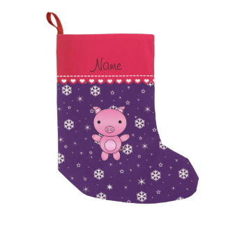 Personalized name pig purple snowflakes small christmas stocking