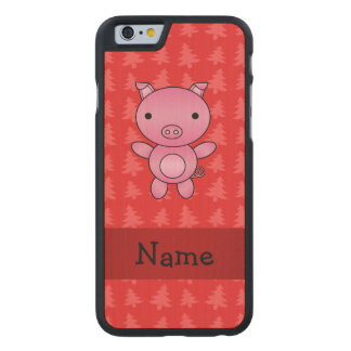 Personalized name pig red christmas trees carved® maple iPhone 6 case