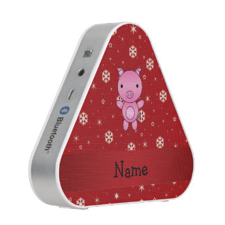 Personalized name pig red snowflakes speaker