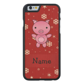 Personalized name pig red snowflakes carved® maple iPhone 6 slim case