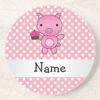 Personalized name pig with cupcake polka dots coaster