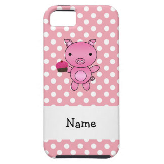Personalized name pig with cupcake polka dots iPhone 5 case