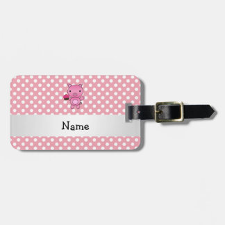 Personalized name pig with cupcake polka dots luggage tag