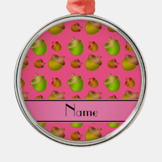 Personalized name pink acorns Silver-Colored round decoration