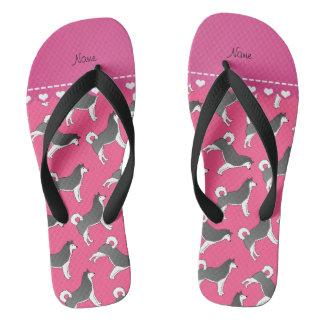 Personalized name pink alaskan malamute dogs flip flops