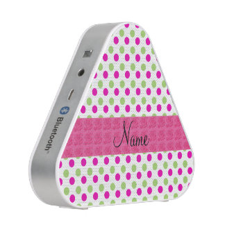 Personalized name pink and green polka dots