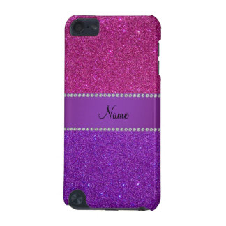 Personalized name pink and purple glitter iPod touch 5G case
