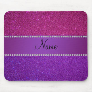 Personalized name pink and purple glitter mouse mat