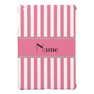Personalized name pink and white stripes iPad mini case