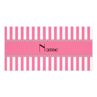 Personalized name pink and white stripes picture card