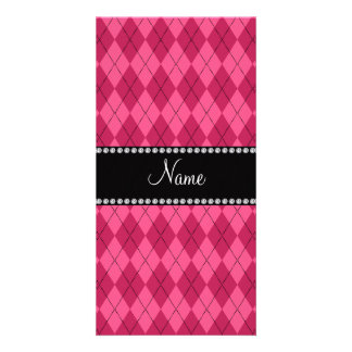 Personalized name Pink argyle Photo Card