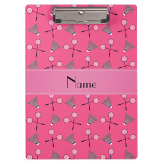 Personalized name pink badminton pattern clipboard
