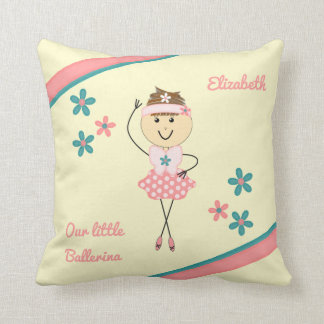Personalized name pink ballerina cushion