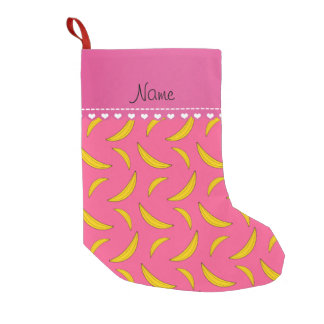 Personalized name pink bananas small christmas stocking