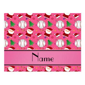 Personalized name pink baseball christmas postcard