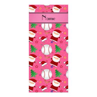 Personalized name pink baseball christmas rack card