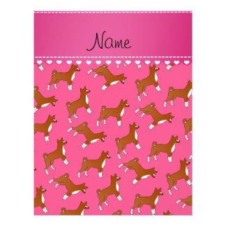 Personalized name pink basenji dogs 21.5 cm x 28 cm flyer