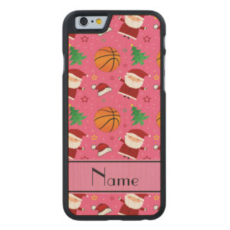Personalized name pink basketball christmas carved® maple iPhone 6 slim case