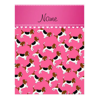 Personalized name pink basset hound dogs 21.5 cm x 28 cm flyer