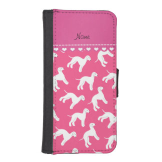 Personalized name pink bedlington terrier dogs iPhone SE/5/5s wallet case
