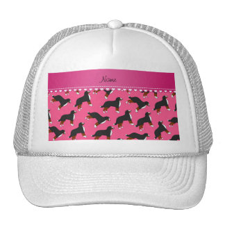 Personalized name pink Bernese Mountain dogs Cap
