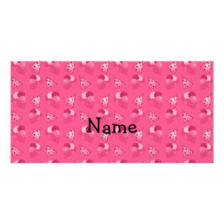 Personalized name pink birthday pattern picture card