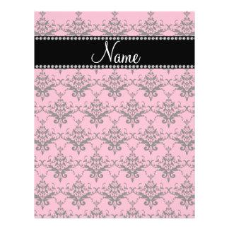 Personalized name Pink black damask Custom Flyer