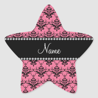 Personalized name Pink black damask Star Stickers