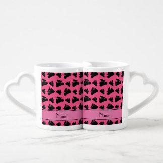 Personalized name pink black motorcycle racing lovers mug