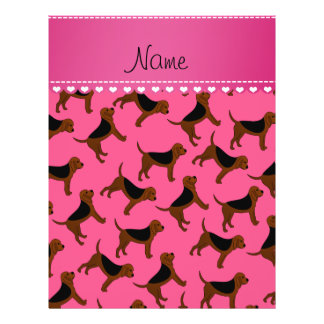 Personalized name pink bloodhound dogs 21.5 cm x 28 cm flyer