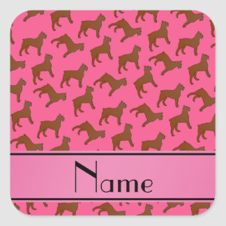 Personalized name pink Bouvier des Flandres dogs Square Sticker