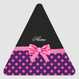 Personalized name pink bow purple pink dots triangle sticker