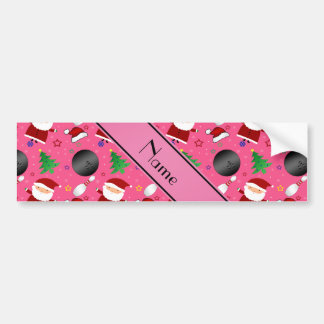 Personalized name pink bowling christmas pattern bumper stickers