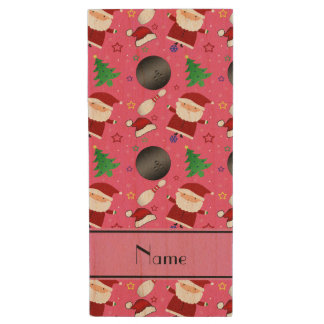 Personalized name pink bowling christmas pattern wood USB 2.0 flash drive