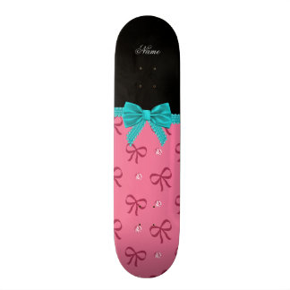 Personalized name pink bows diamonds turquoise bow skate board decks