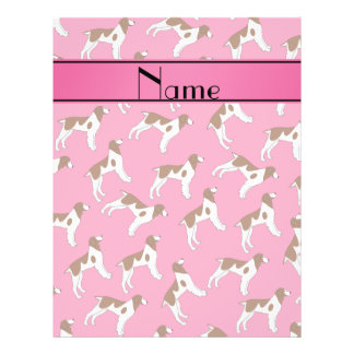 Personalized name pink brittany spaniel dogs 21.5 cm x 28 cm flyer