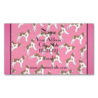 Personalized name pink brittany spaniel dogs magnetic business cards