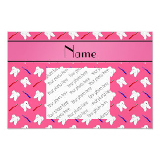 Personalized name pink brushes and tooth pattern photograph