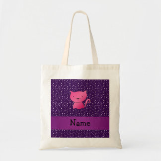 Personalized name pink cat purple stars tote bag