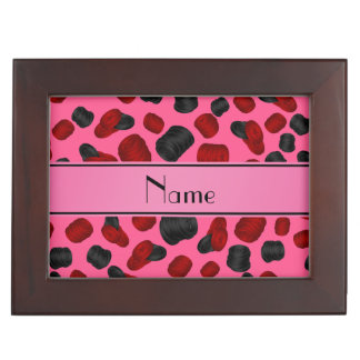 Personalized name pink checkers game memory boxes