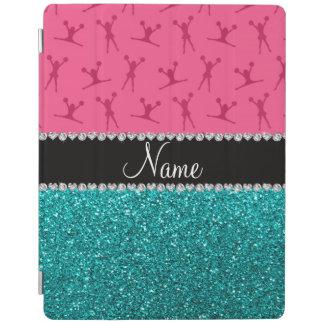 Personalized name pink cheerleader aqua glitter iPad cover