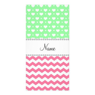 Personalized name pink chevrons light green hearts personalized photo card