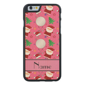 Personalized name pink christmas golfing carved® maple iPhone 6 slim case