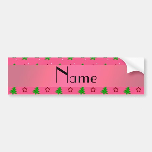 Personalized name pink christmas stars pattern bumper stickers