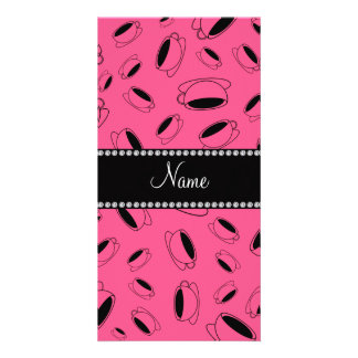 Personalized name pink coffee cup photo card