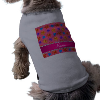 Personalized name pink colorful lily flowers sleeveless dog shirt